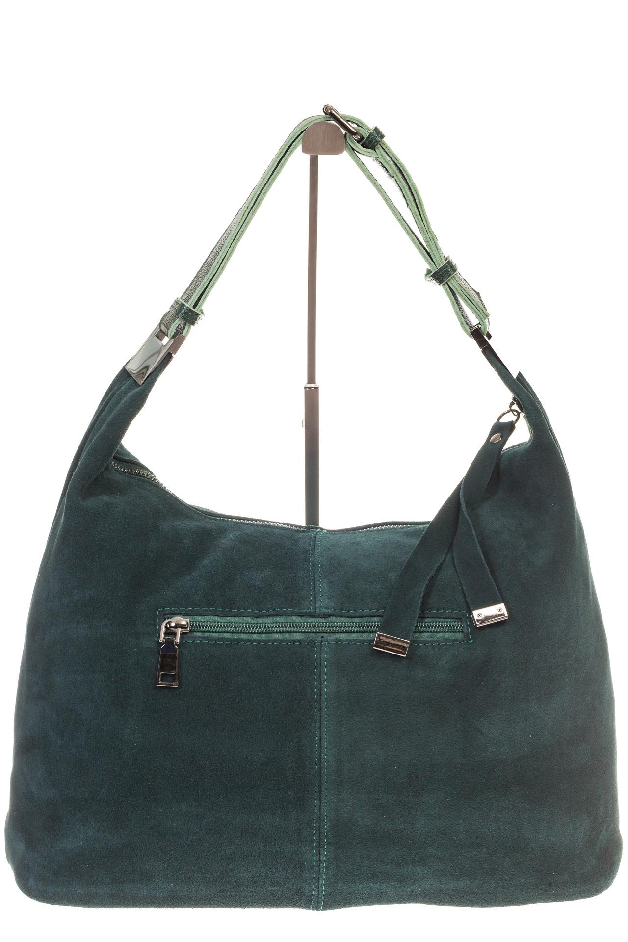 На фото 3 - Женская сумка Хобо из замши изумрудного цвета