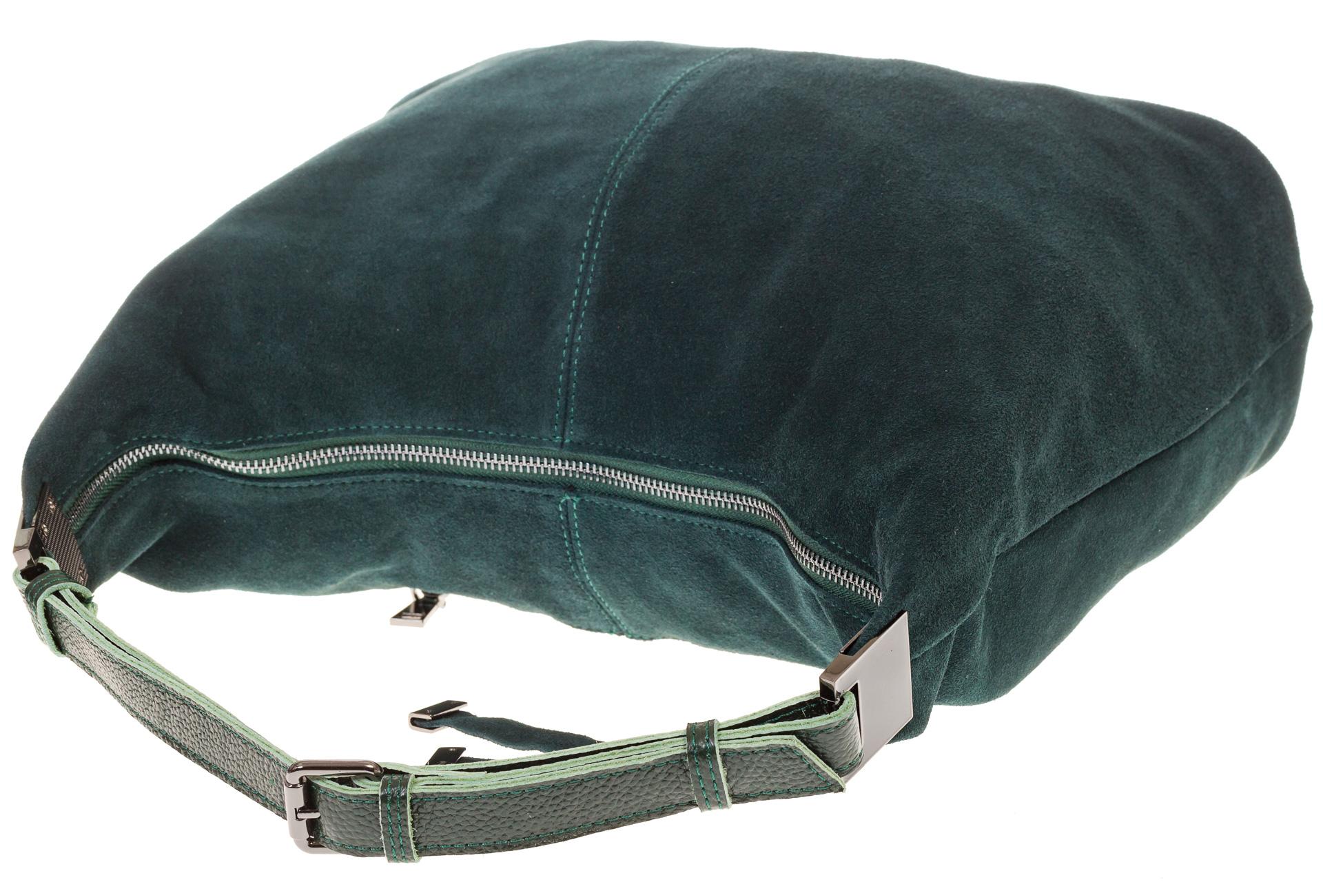На фото 4 - Женская сумка Хобо из замши изумрудного цвета
