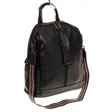 На фото 1 - Женский городской рюкзак из кожи, цвет черн...