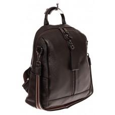 На фото 1 - Женский городской рюкзак из кожи, цвет кофе