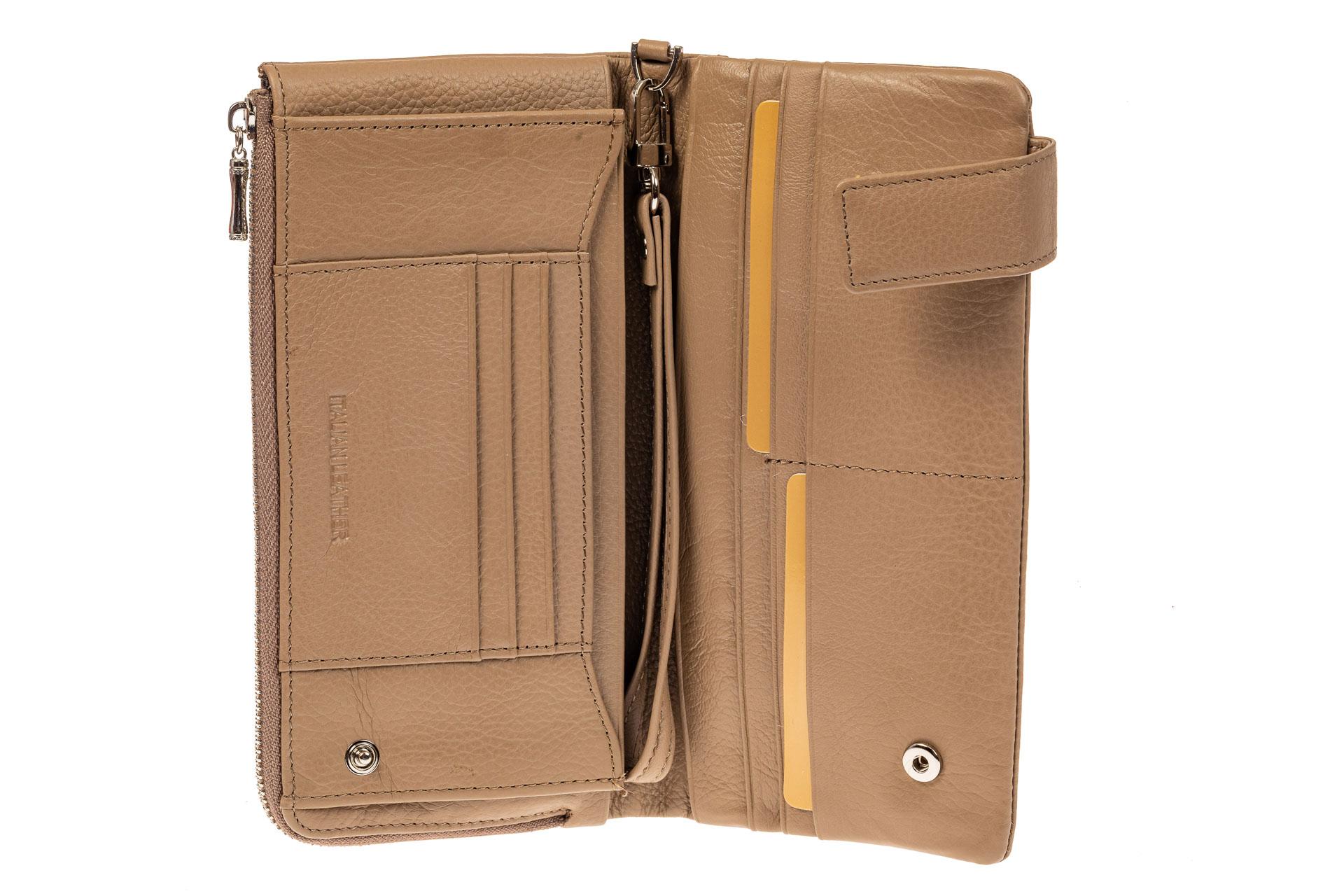 На фото 2 - Женский полноразмерный кошелек из натуральной кожи, цвет бежевый