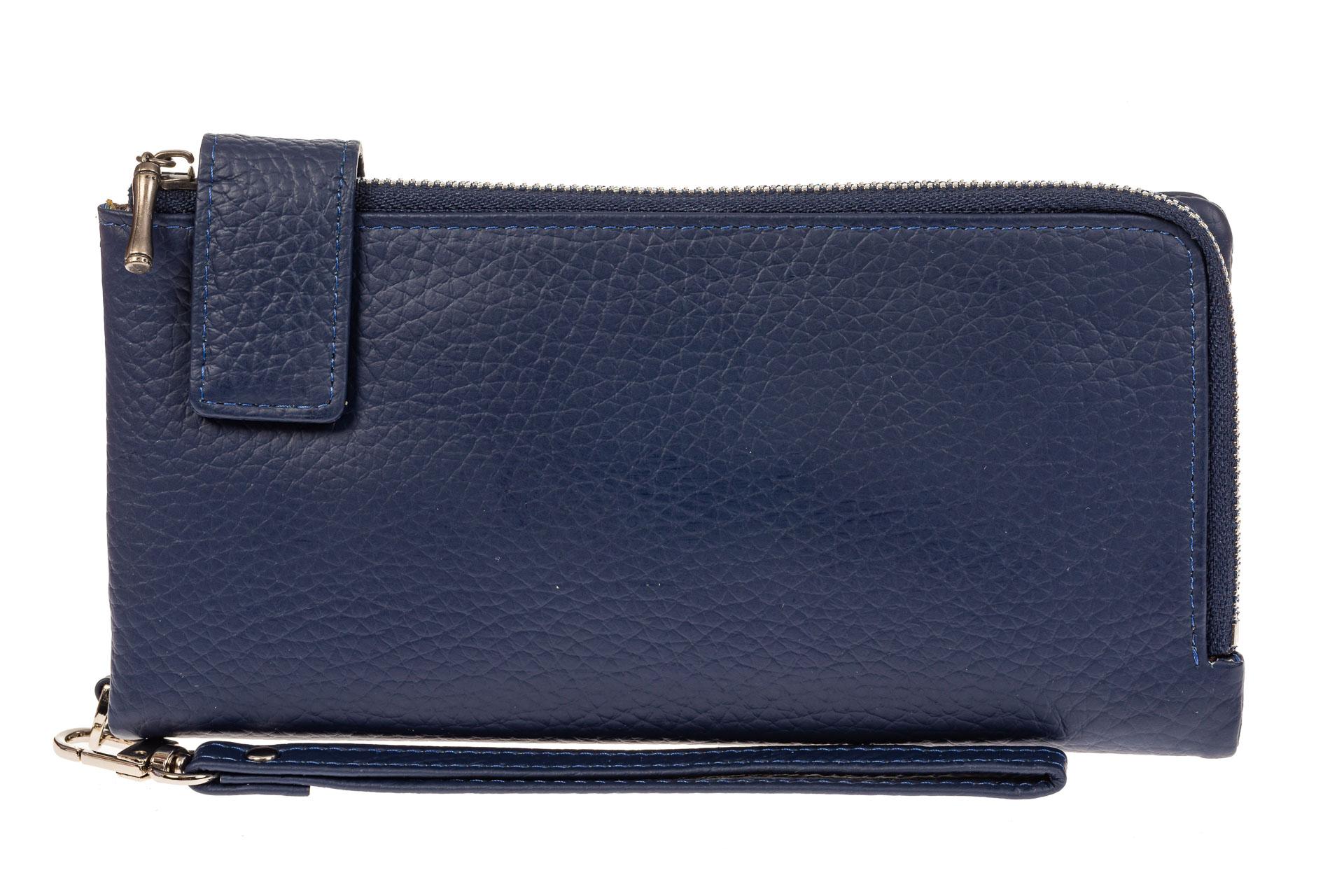 На фото 1 - Женский полноразмерный кошелек из натуральной кожи, цвет синий