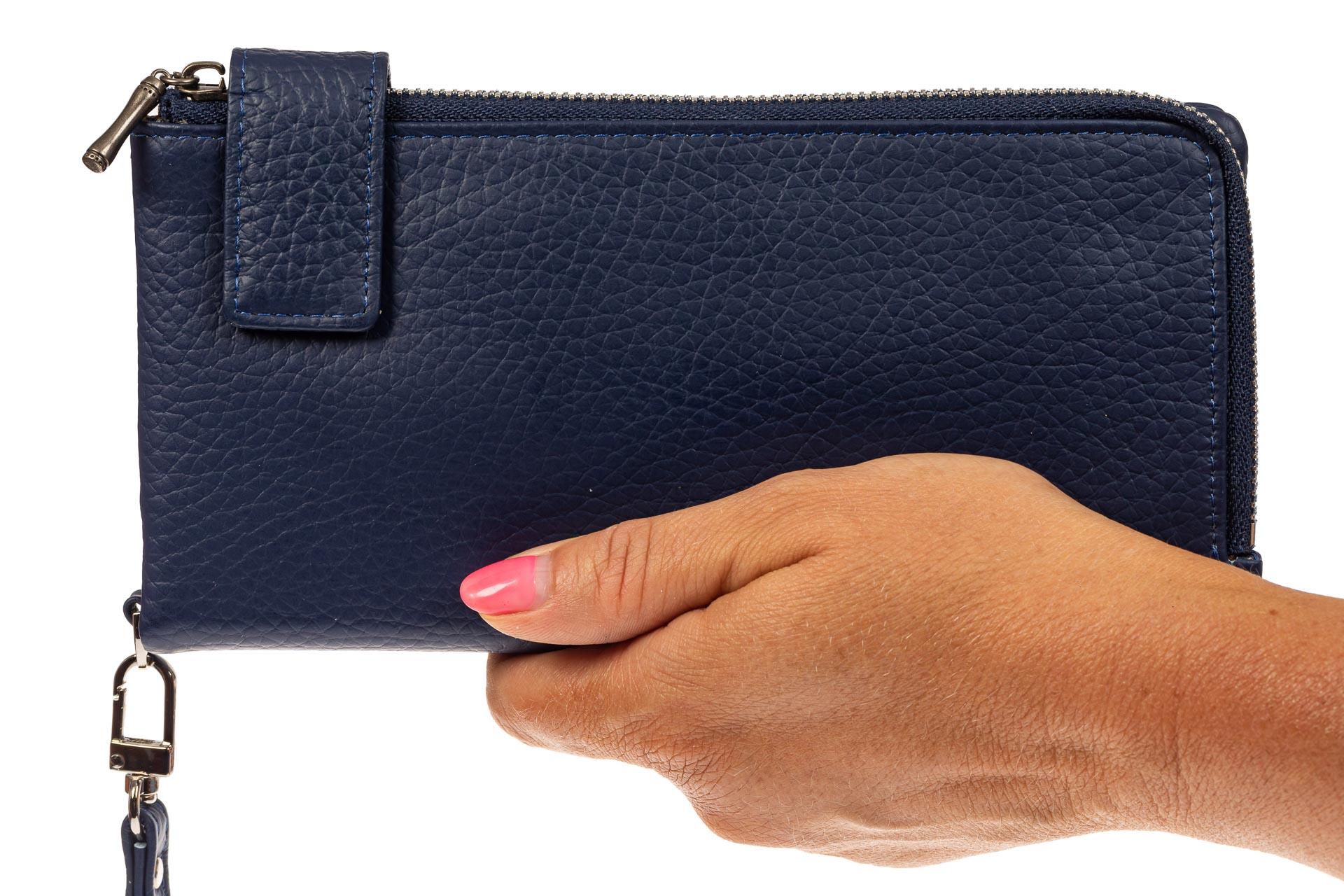 На фото 3 - Женский полноразмерный кошелек из натуральной кожи, цвет синий