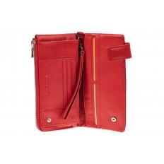 На фото 2 - Женский полноразмерный кошелек из натуральной кожи, цвет красный