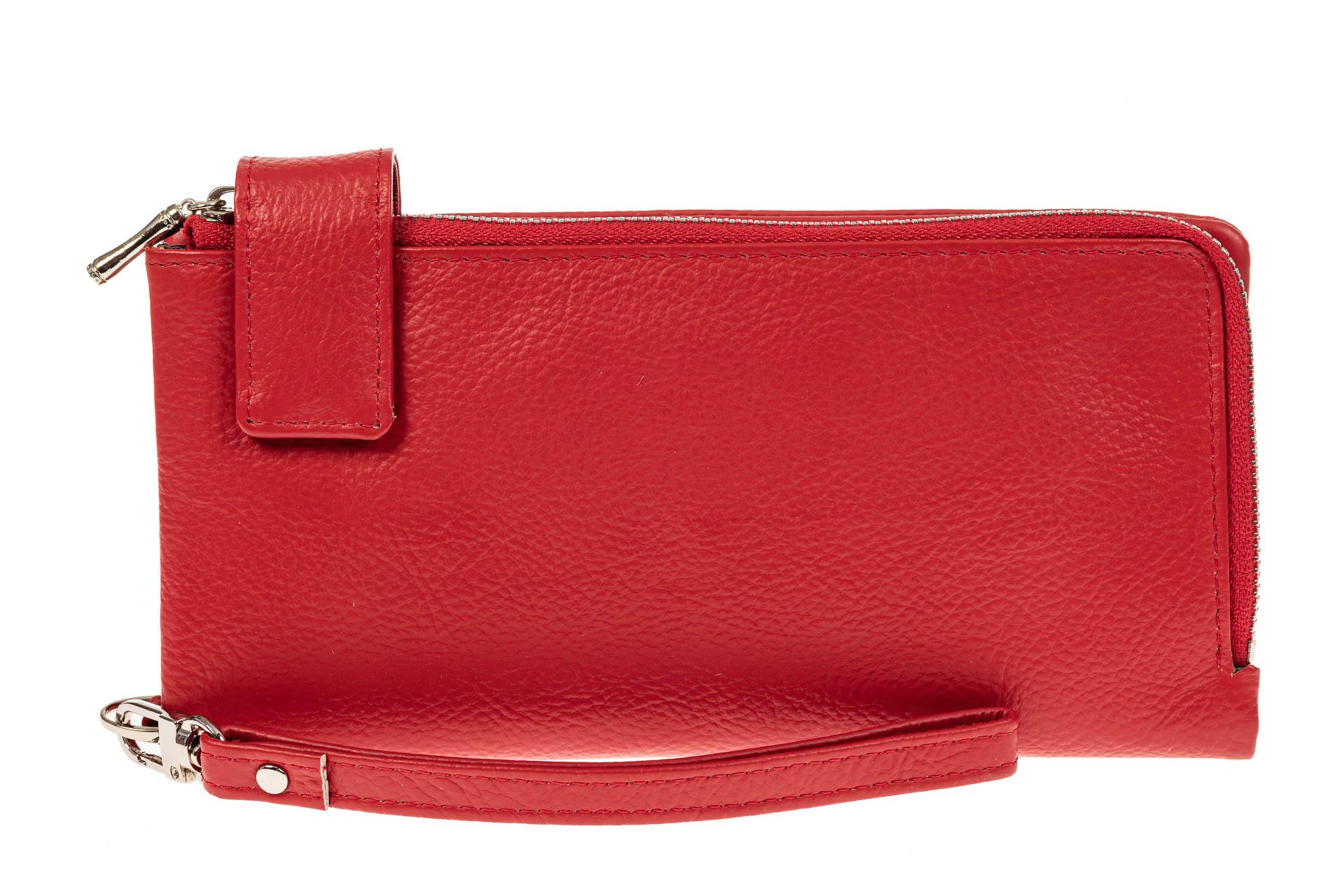 На фото 1 - Женский полноразмерный кошелек из натуральной кожи, цвет красный