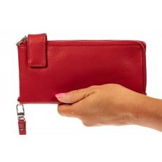 На фото 3 - Женский полноразмерный кошелек из натуральной кожи, цвет красный