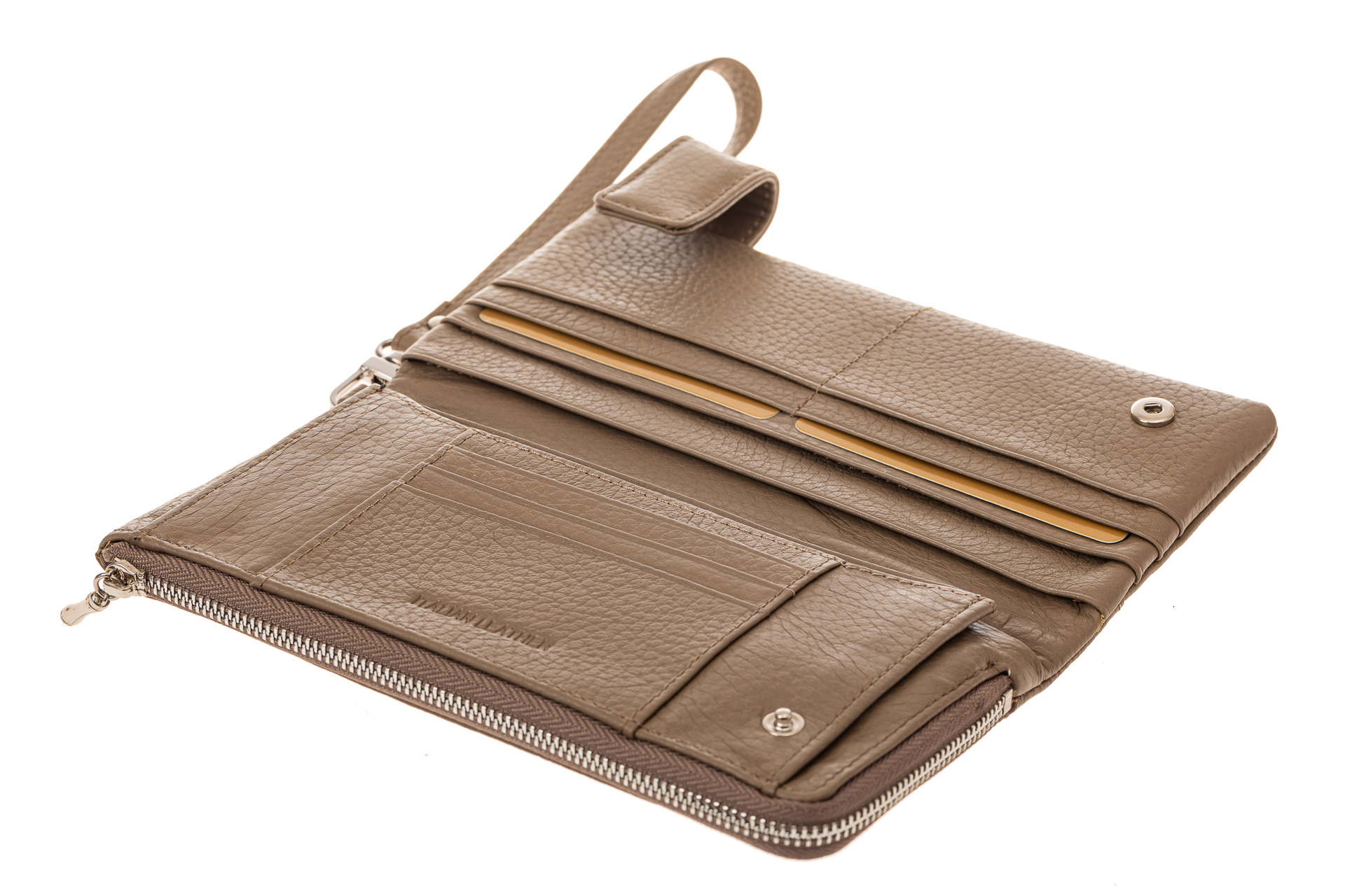 На фото 2 - Большой кошелек с прорезями для кредитных карт, светло-коричневый, производство Китай