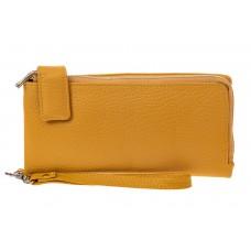 На фото 1 - Большой женский кошелек, пригшлушенный желтый, производство Китай