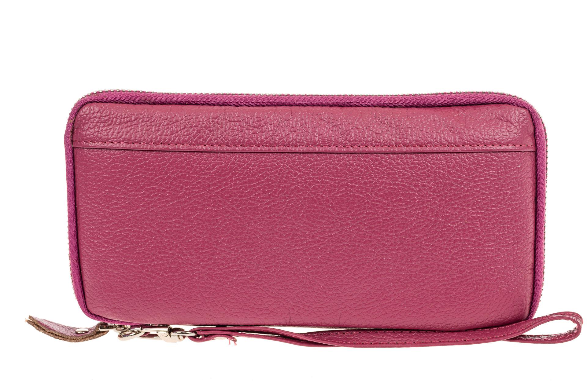 На фото 1 - Кожаный кошелек из натуральной кожи, розовый