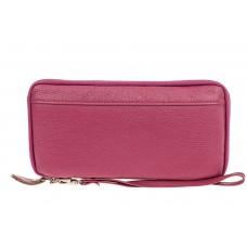 На фото 1 - Кожаный кошелек, розовая