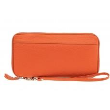 На фото 1 - Кожаный кошелек, оранжевый