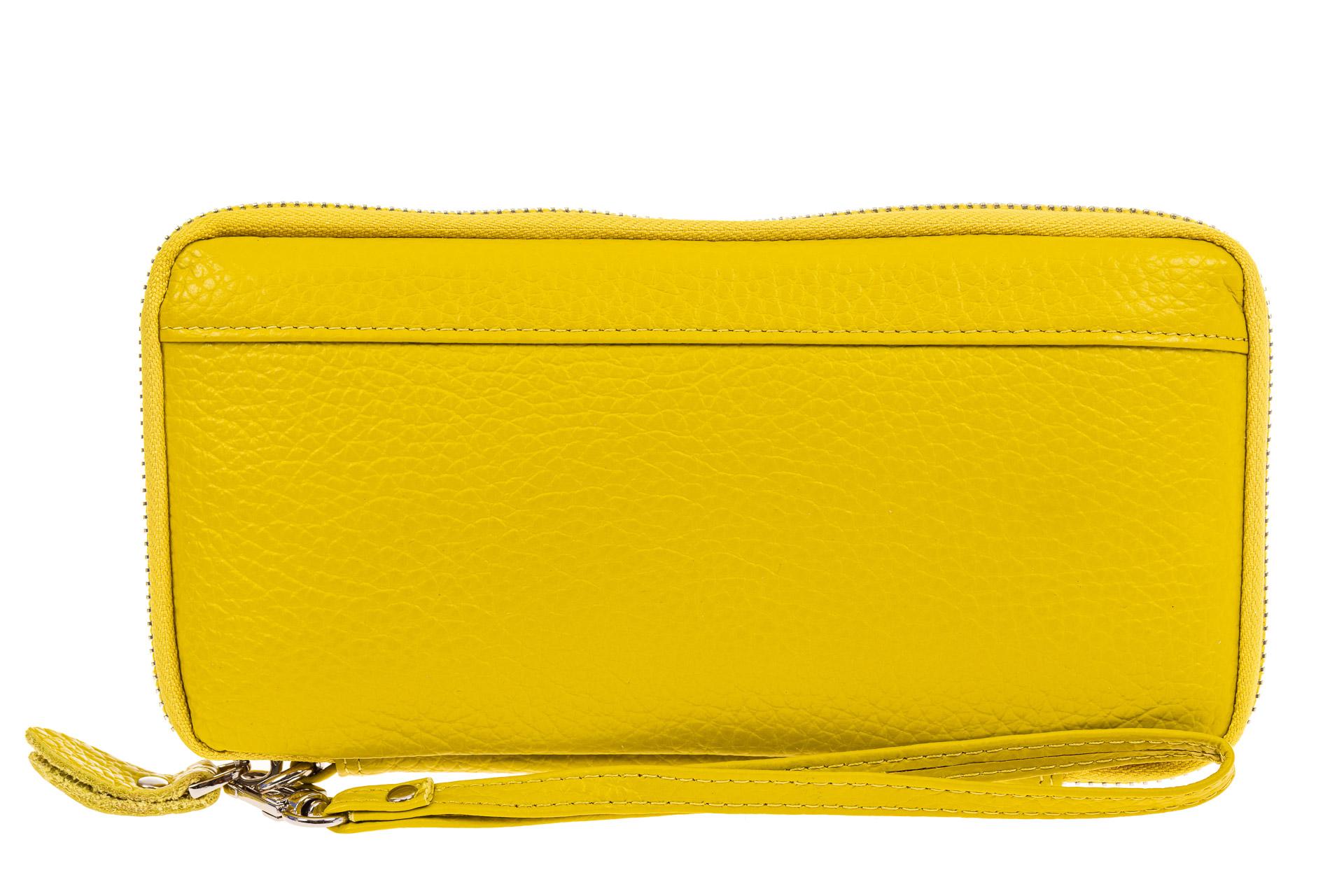 На фото 1 - Кожаный кошелек, желтый