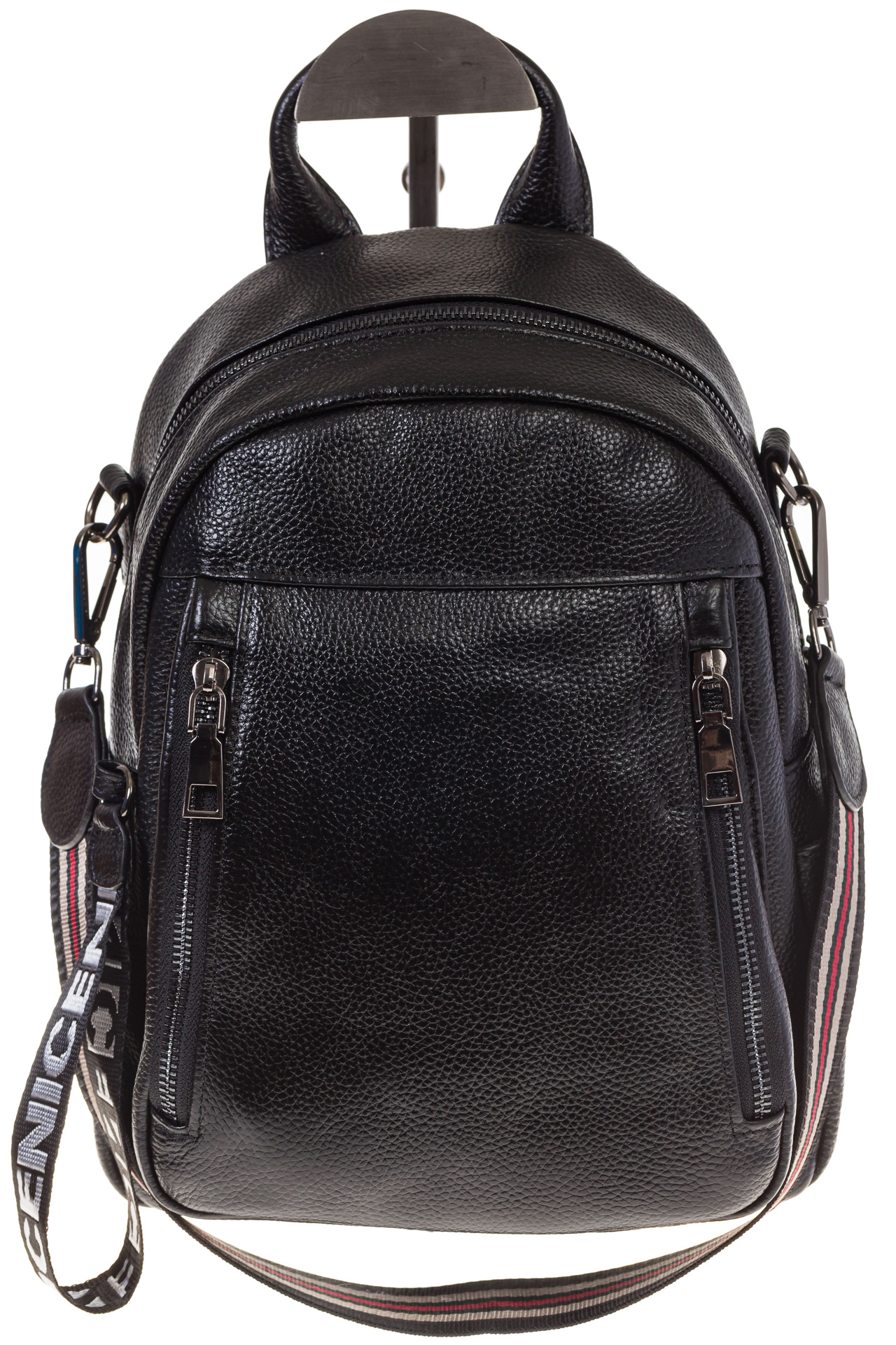 На фото 2 - Женский кожаный рюкзак, цвет черный 15833AR