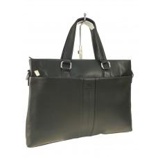 На фото 1 - Деловой мужской портфель из экокожи, цвет чёрный