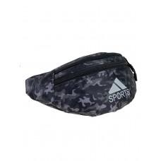 На фото 1 - Спортивная текстильная сумка на пояс с камуфляжным принтом, оттенки серого