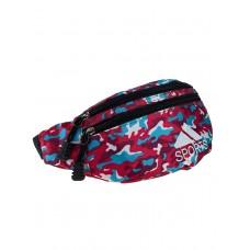 На фото 1 - Спортивная поясная сумка из ткани с камуфляжным принтом, цвет фуксия