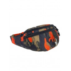 На фото 1 - Сумка спортивная поясная из текстиля с принтом, цвет хаки с чёрным и оранжевым