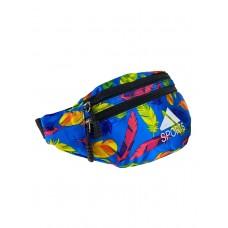 На фото 1 - Поясная спортивная сумка из текстиля с ярким принтом, цвет голубой