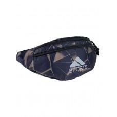 На фото 1 - Спортивная текстильная сумка на пояс с принтом, цвет чёрный с хаки
