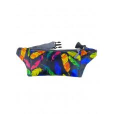 На фото 1 - Спортивная поясная сумка из текстиля с разноцветным принтом, цвет чёрный