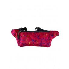 На фото 1 - Спортивная поясная сумка из текстиля с принтом, цвет фуксия
