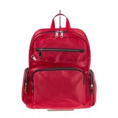 На фото 2 - Городской рюкзак из текстиля, цвет – красный