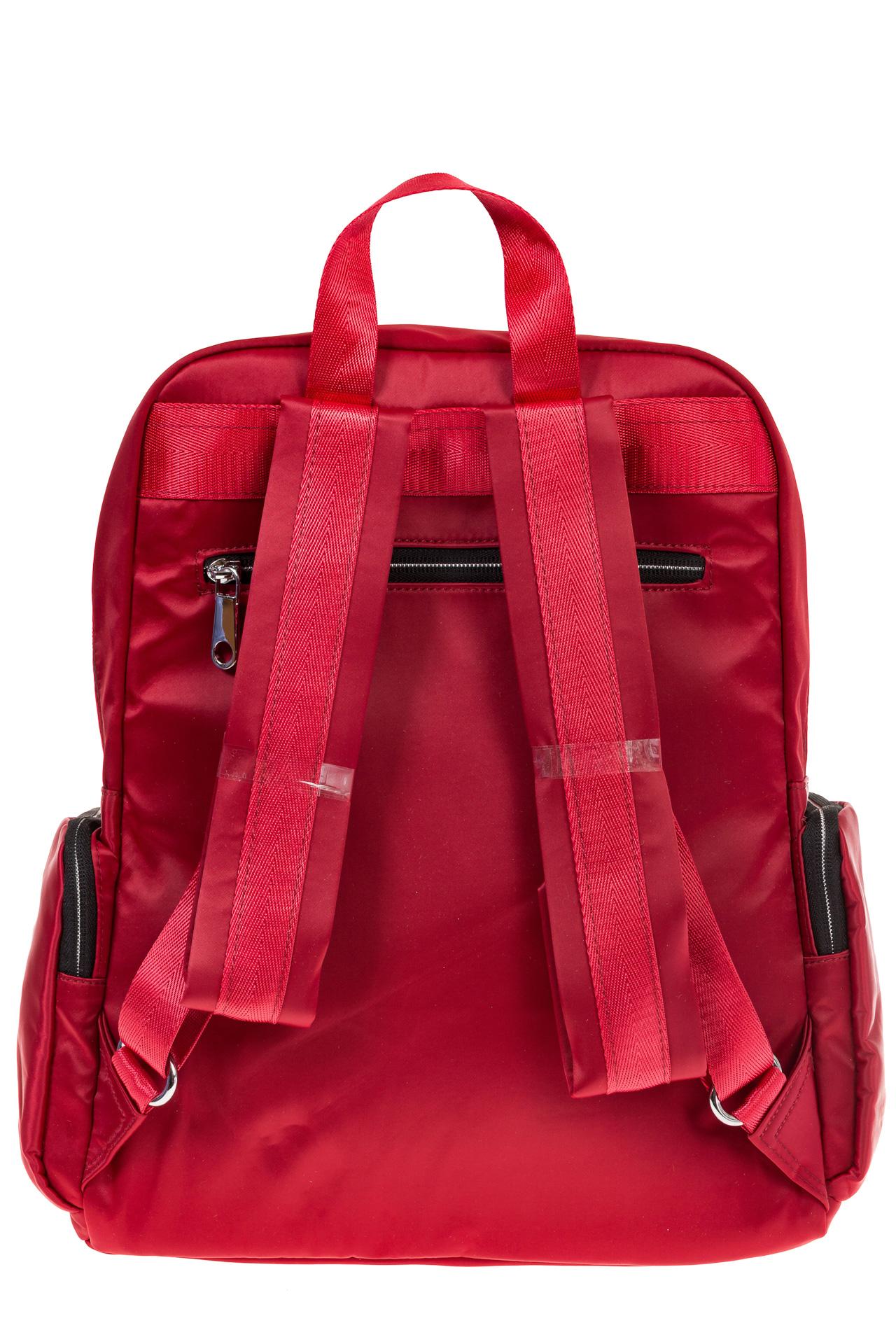 На фото 3 - Городской рюкзак из текстиля, цвет – красный