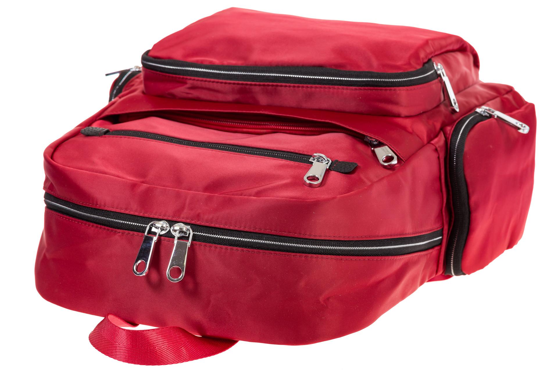 На фото 4 - Городской рюкзак из текстиля, цвет – красный