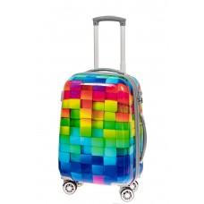 На фото 1 - Пластиковый чемодан среднего размера, цветная мозаика