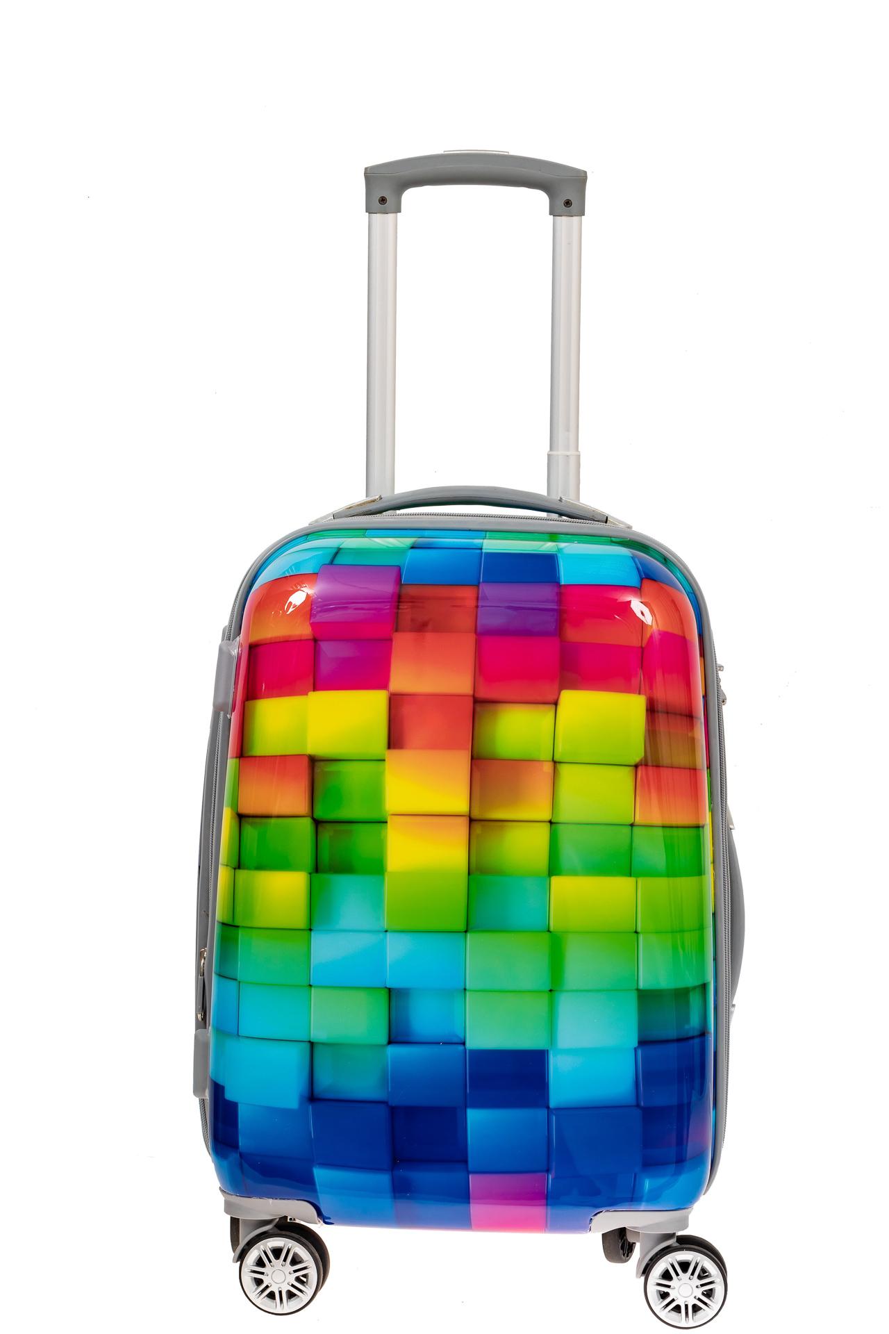 На фото 2 - Пластиковый чемодан среднего размера, цветная мозаика