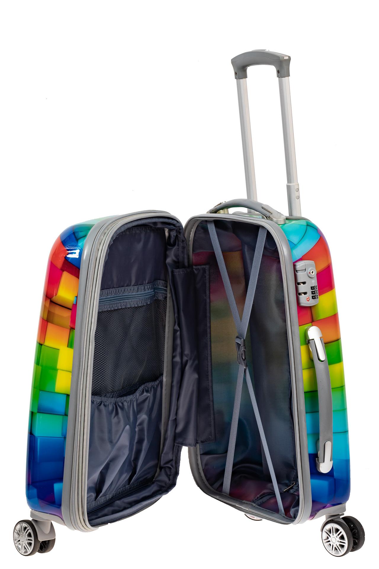 На фото 3 - Пластиковый чемодан среднего размера, цветная мозаика