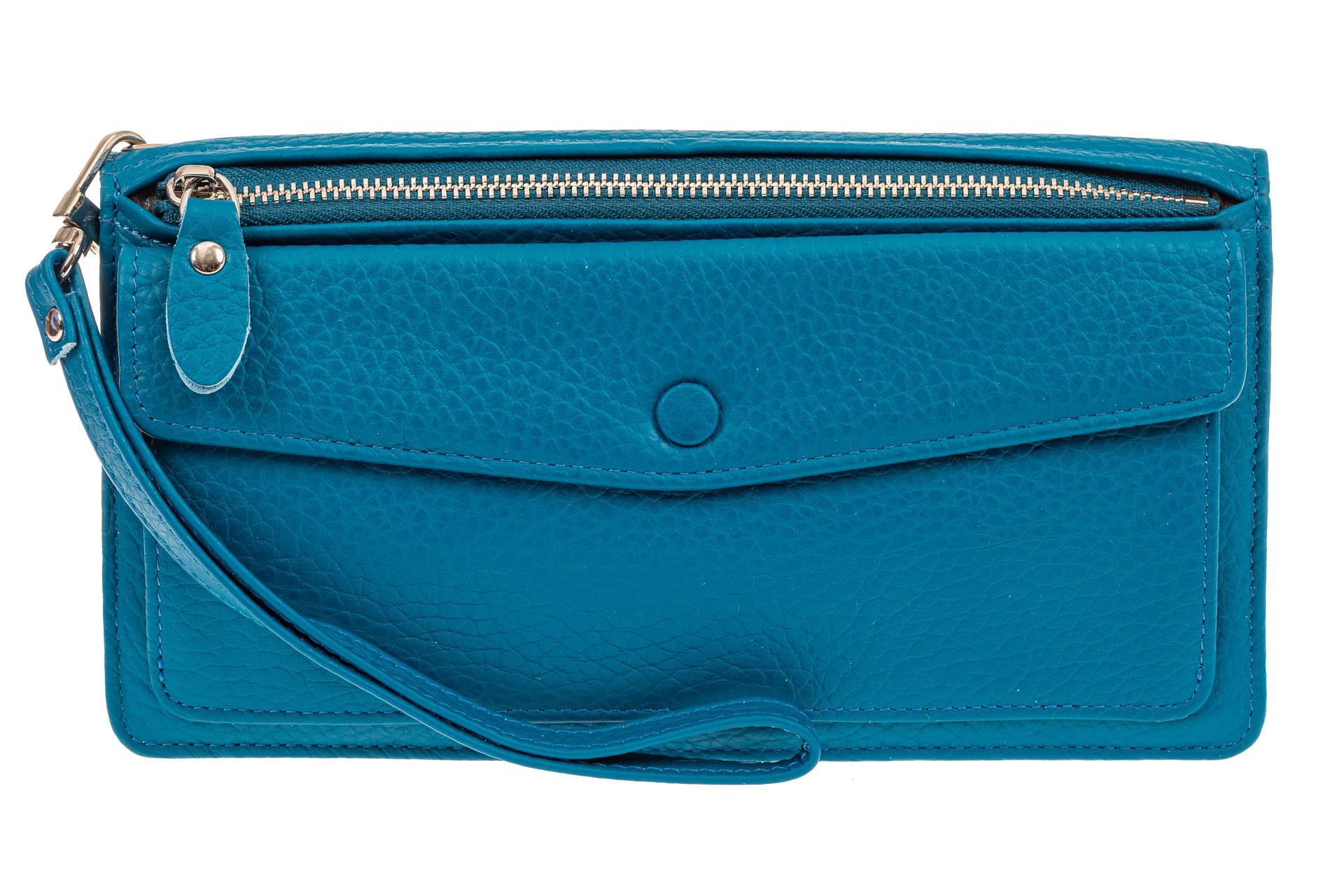 На фото 1 - Кожаный кошелек для купюр и монет с накладным карманом, голубой