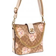 На фото 1 - Женская сумка из искусственной кожи с розами, цвет бежевый