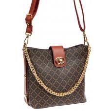 На фото 1 - Женская сумка из искусственной кожи с принтом, цвет кофе