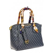 На фото 1 - Женская сумка из экокожи, цвет серо-синий