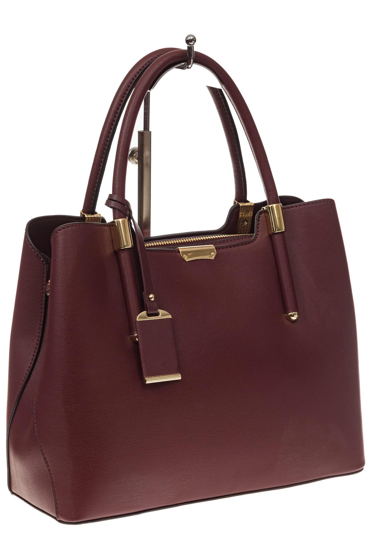 На фото 1 - Классическая женская сумка из искусственной кожи, цвет бордовый