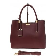 На фото 2 - Классическая женская сумка из искусственной кожи, цвет бордовый