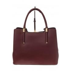 На фото 3 - Классическая женская сумка из искусственной кожи, цвет бордовый