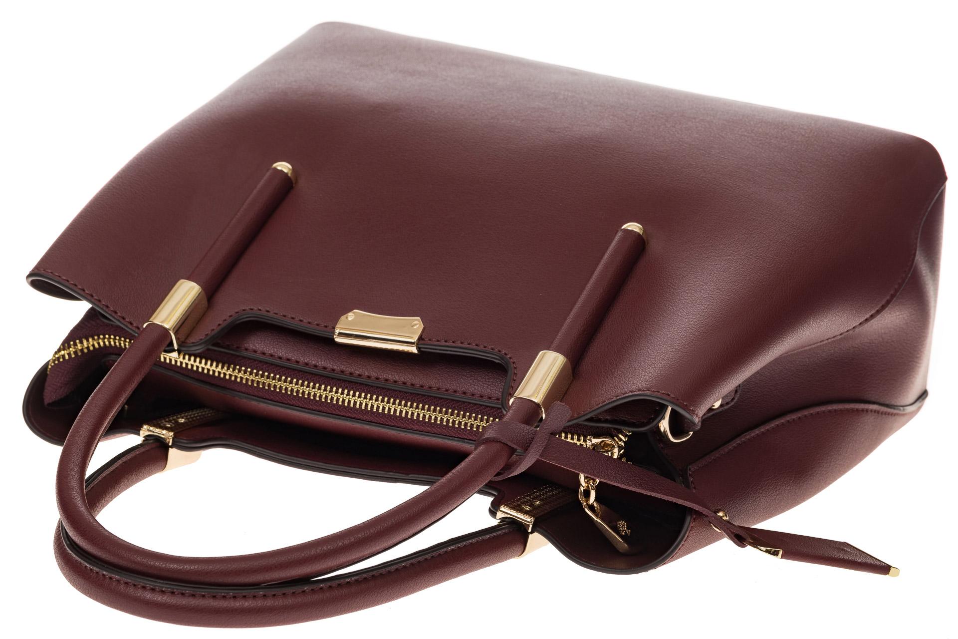 На фото 4 - Классическая женская сумка из искусственной кожи, цвет бордовый