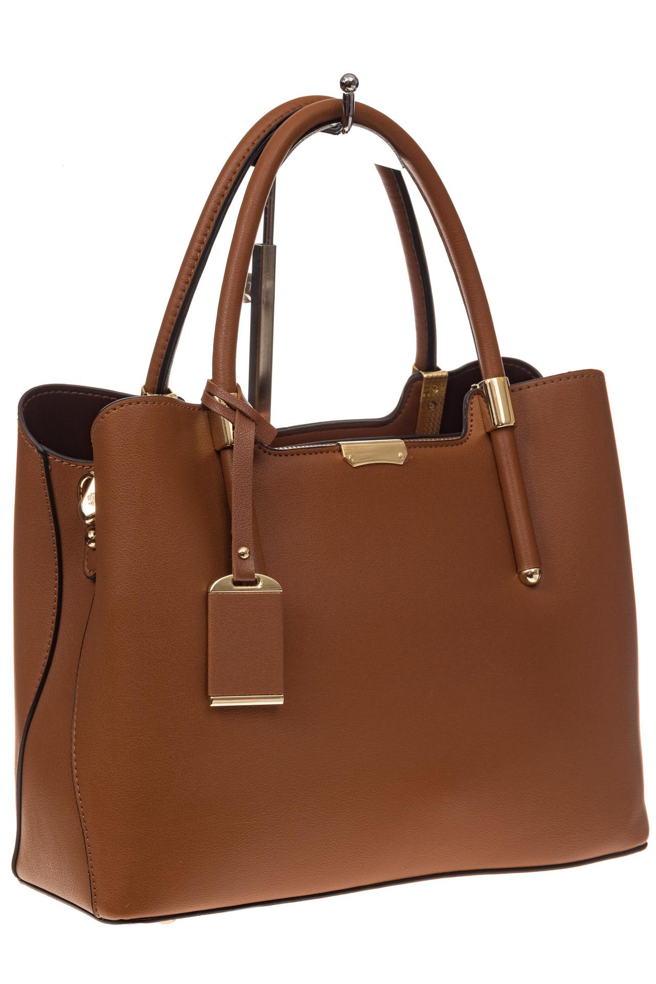На фото 1 - Классическая женская сумка из искусственной кожи, цвет рыжий