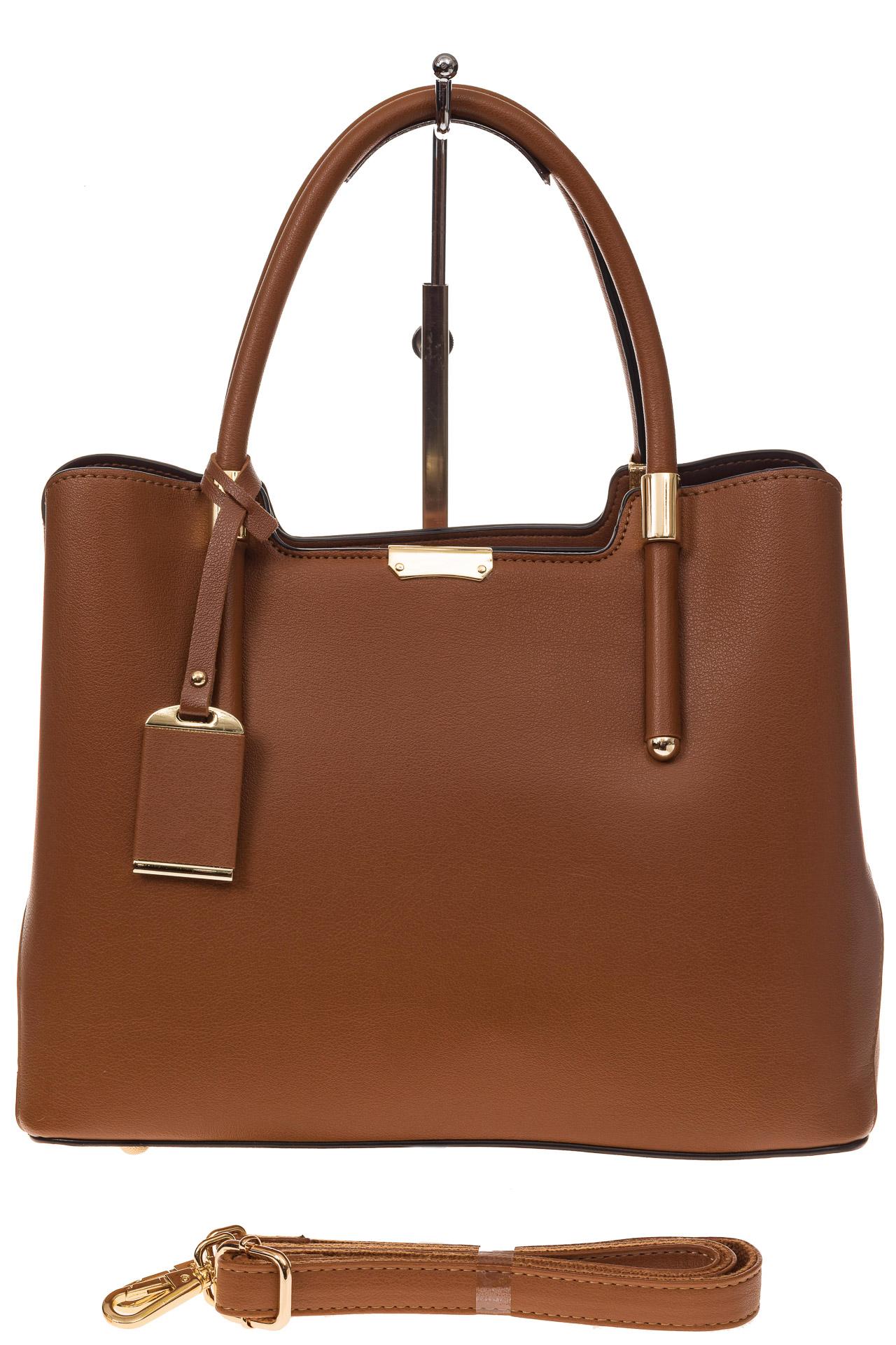 На фото 2 - Классическая женская сумка из искусственной кожи, цвет рыжий