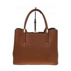 На фото 3 - Классическая женская сумка из искусственной кожи, цвет рыжий