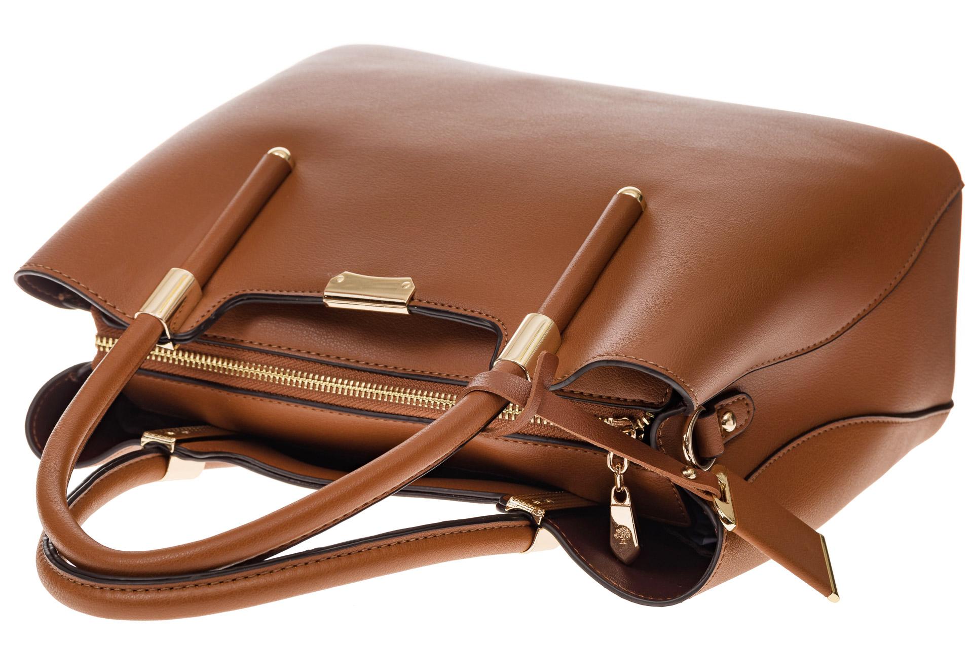 На фото 4 - Классическая женская сумка из искусственной кожи, цвет рыжий