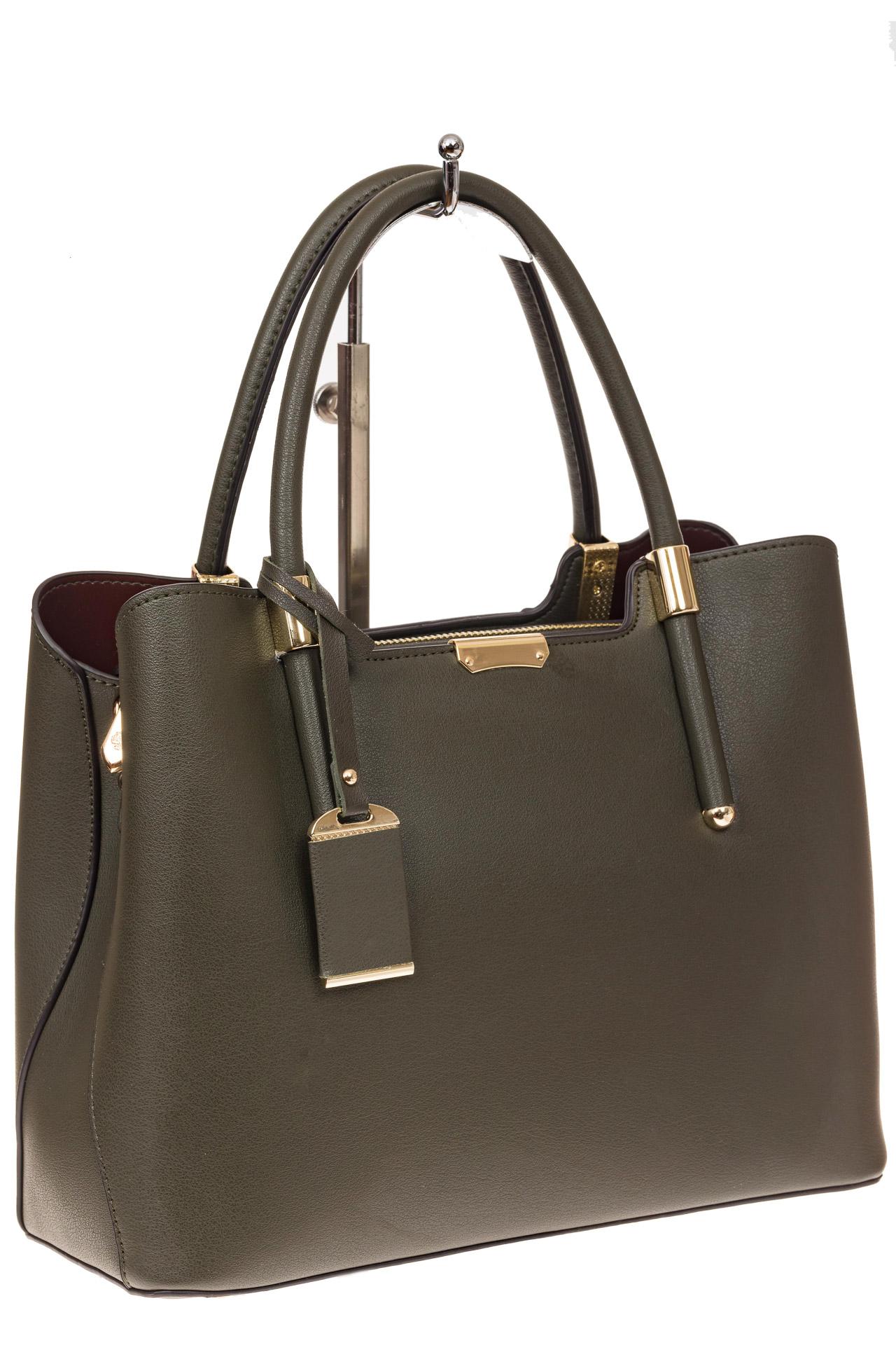 На фото 1 - Классическая женская сумка из искусственной кожи, цвет зеленый