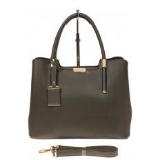 На фото 2 - Классическая женская сумка из искусственной кожи, цвет зеленый