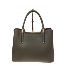 На фото 3 - Классическая женская сумка из искусственной кожи, цвет зеленый