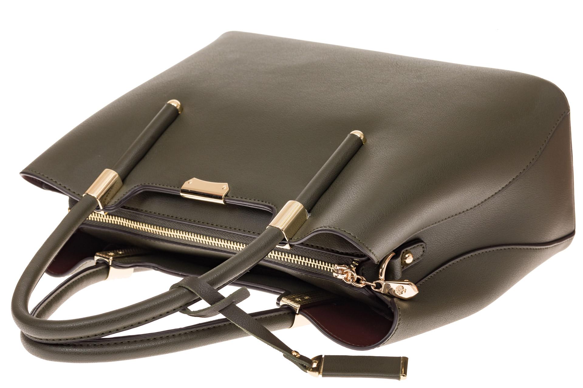 На фото 4 - Классическая женская сумка из искусственной кожи, цвет зеленый
