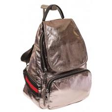 На фото 1 - Светло-бронзовый рюкзак из искусственной кожи грушевидной формы