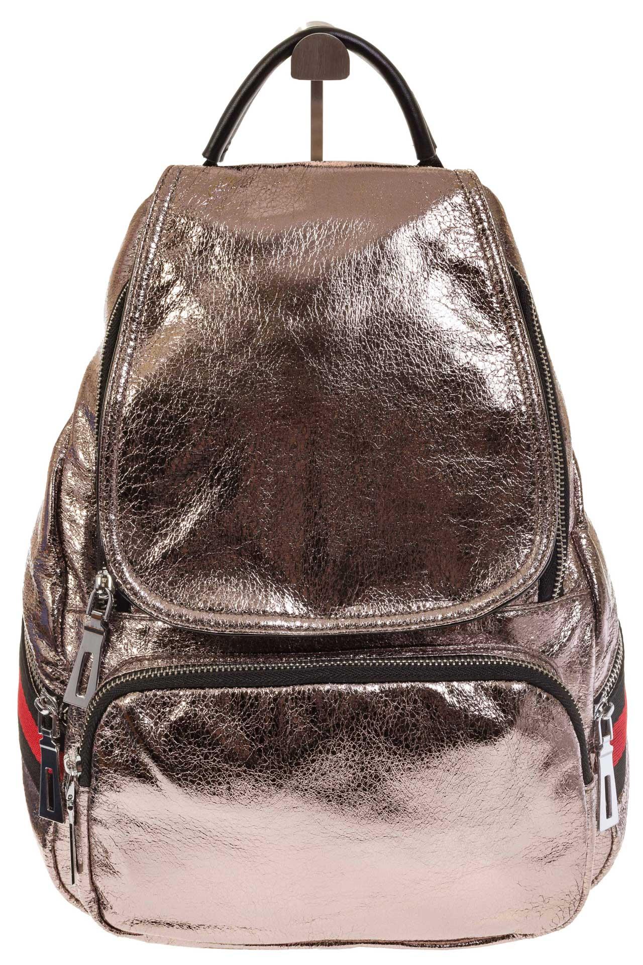 На фото 2 - Светло-бронзовый рюкзак из искусственной кожи грушевидной формы