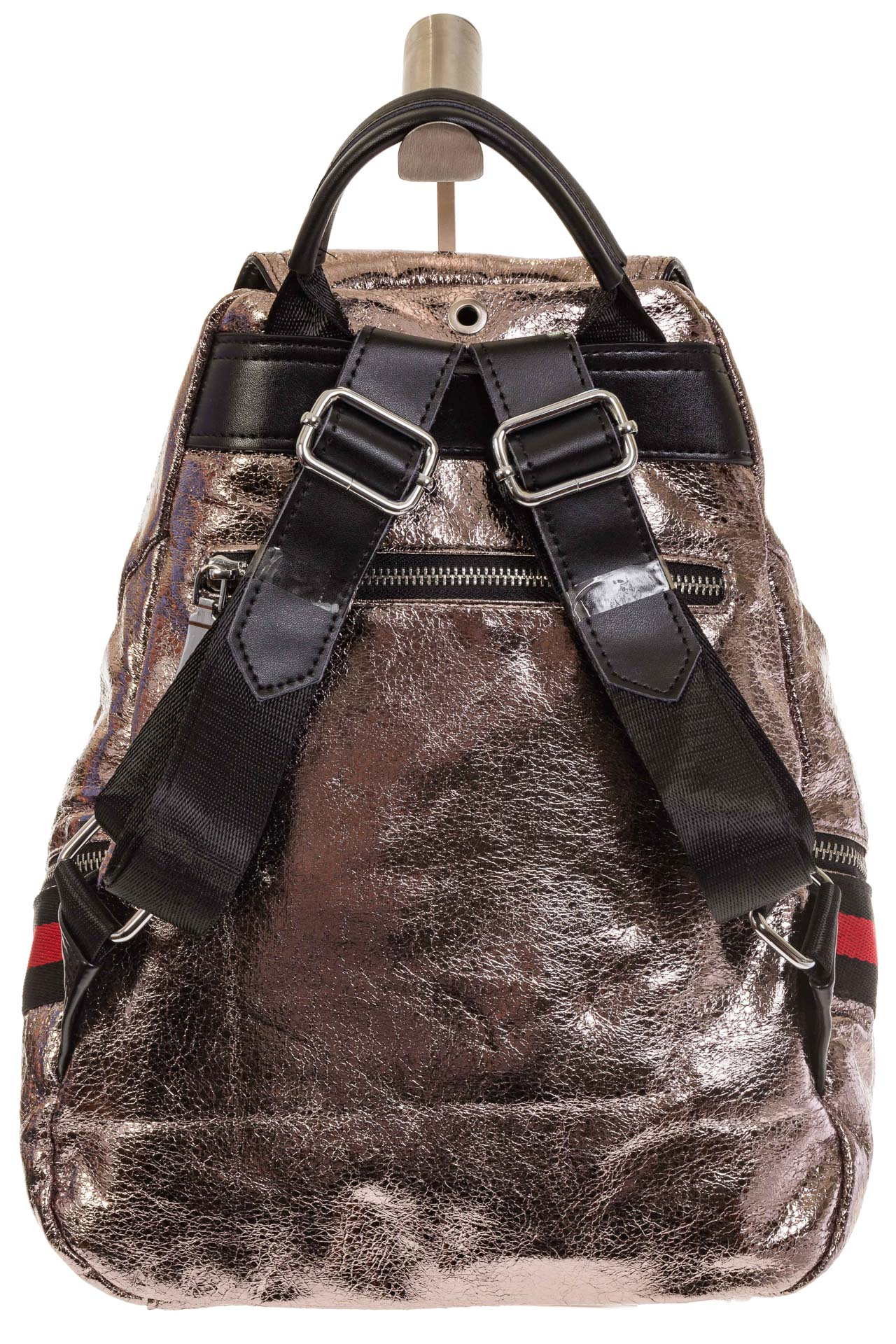 На фото 3 - Светло-бронзовый рюкзак из искусственной кожи грушевидной формы